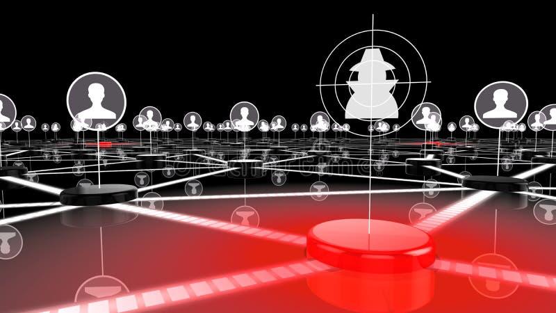 Социальная сеть под нападением хакером иллюстрация вектора