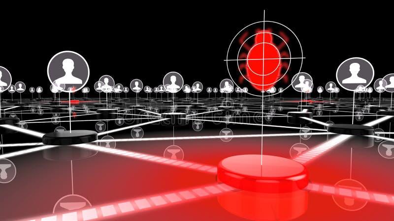 Социальная сеть под нападением черепашками иллюстрация штока