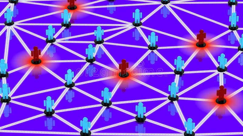 Социальная сеть при голубые парни и красные парни представляя как угрозы иллюстрация вектора