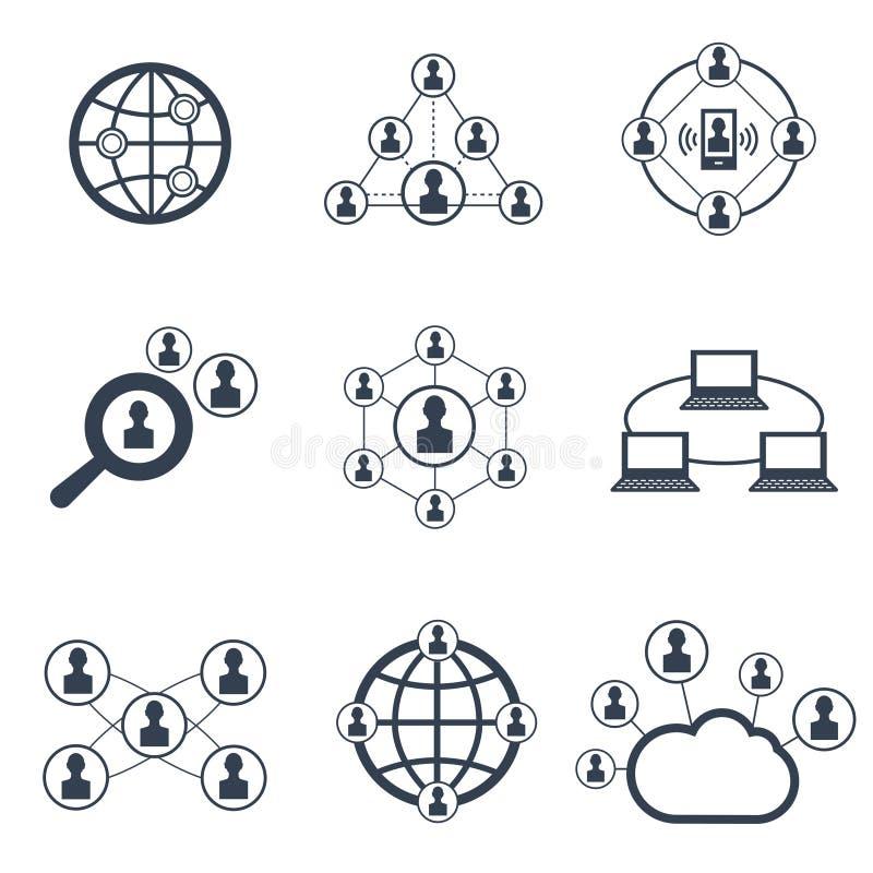 Социальная сеть с символами людей установленные pictograms интернета икон vector вебсайт сети иллюстрация штока
