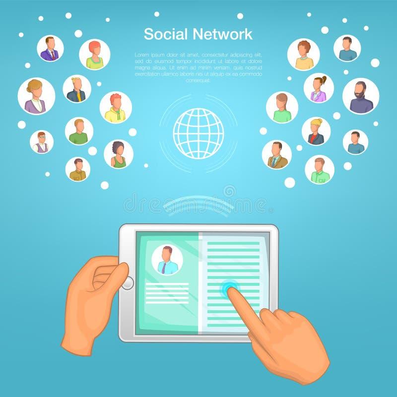 Социальная таблетка концепции сети, стиль шаржа бесплатная иллюстрация