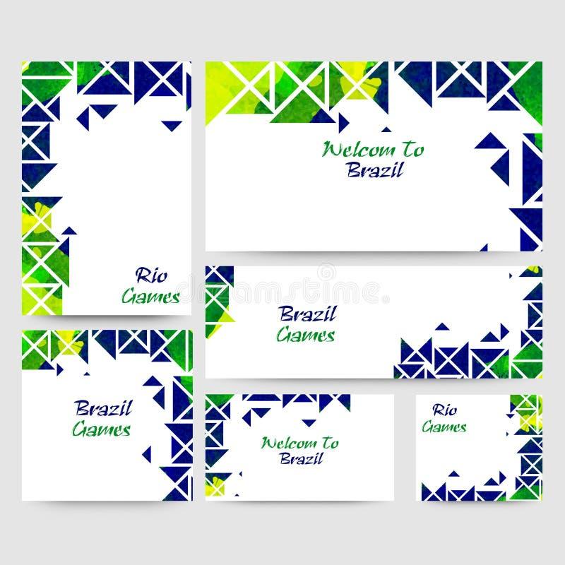 Социальное знамя средств массовой информации установило для игр Рио Бразилии бесплатная иллюстрация