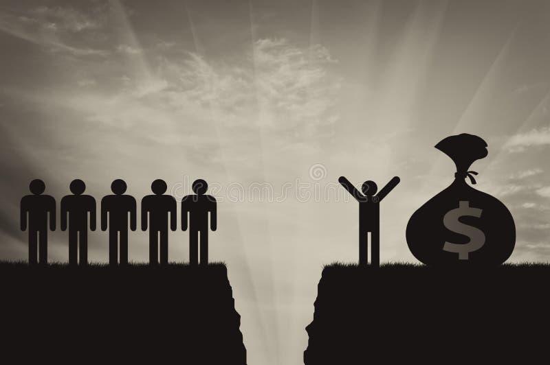 Социальное неравенство людей и зазора между ими иллюстрация вектора