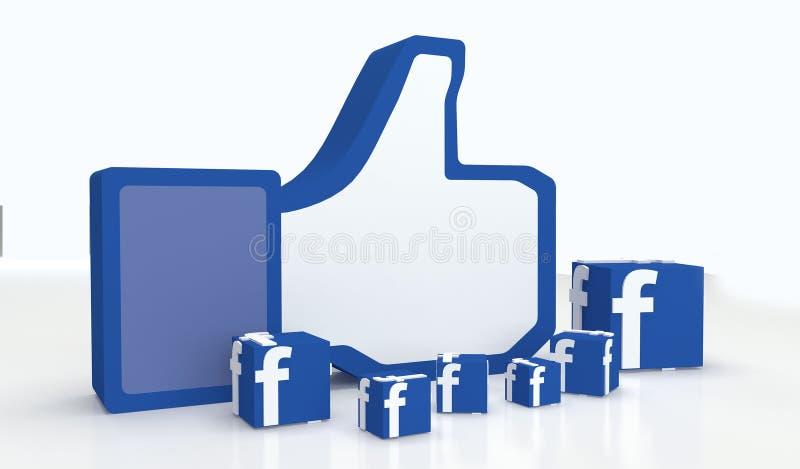 Социальные большие пальцы руки-вверх facebook средств массовой информации иллюстрация штока