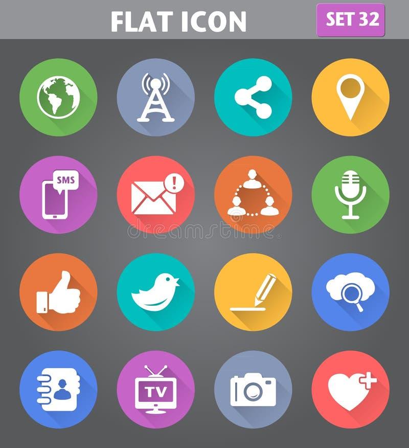 Социальные значки сети и интернета установили в плоский стиль с длинное sh иллюстрация штока