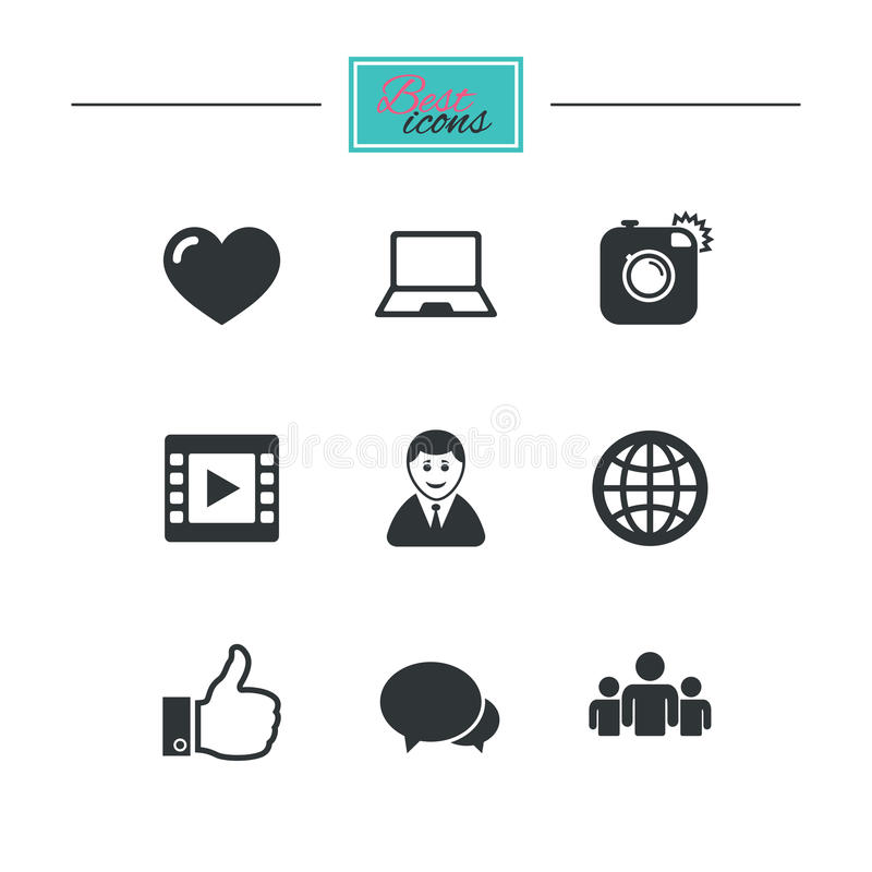 Download Социальные значки средств массовой информации Знаки видео, доли и болтовни Иллюстрация вектора - иллюстрации насчитывающей компьтер, классицистическо: 81805910