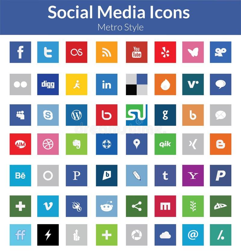 Социальные значки средств массовой информации (стиль метро) иллюстрация вектора