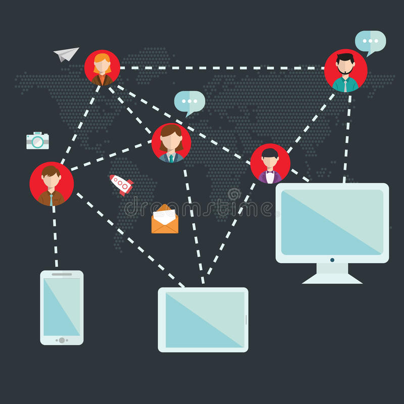 Социальные приборы средств массовой информации, иллюстрация сети, вектор, значок иллюстрация штока