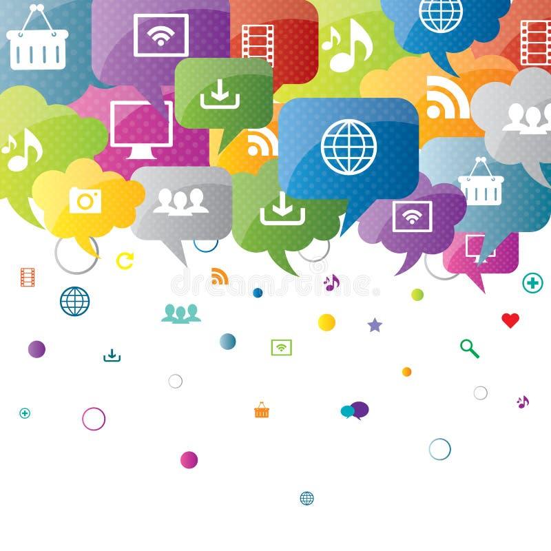Социальные средства массовой информации и дело интернета иллюстрация вектора