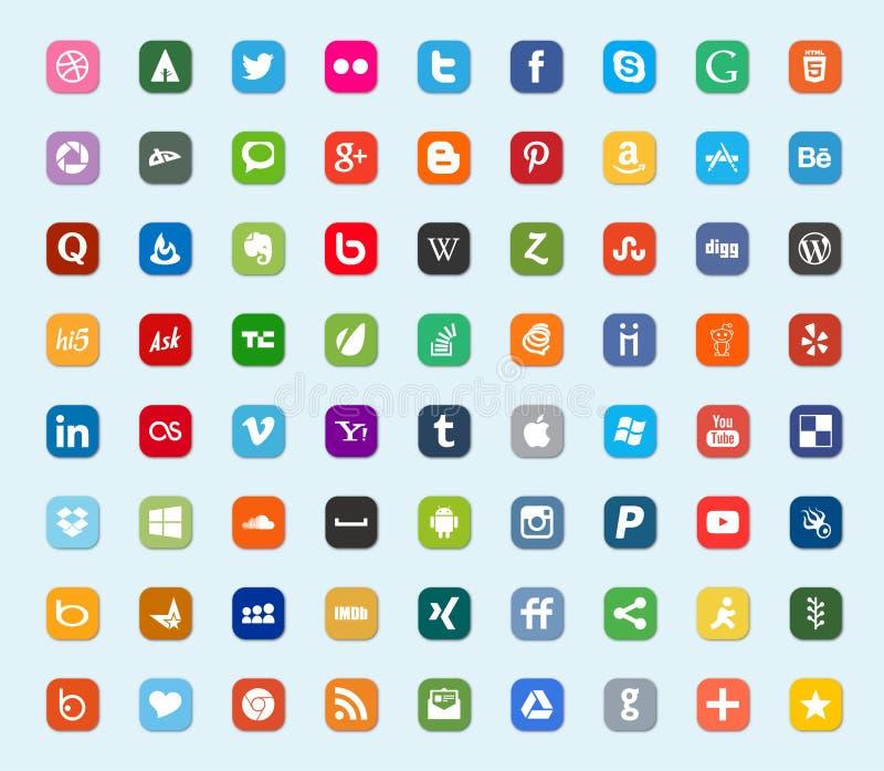 Социальные средства массовой информации и значки цвета сети плоские иллюстрация вектора