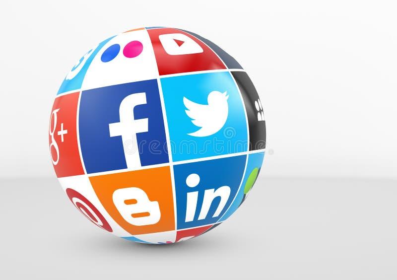 Социальные средства массовой информации и логотип сети на глобусе иллюстрация вектора