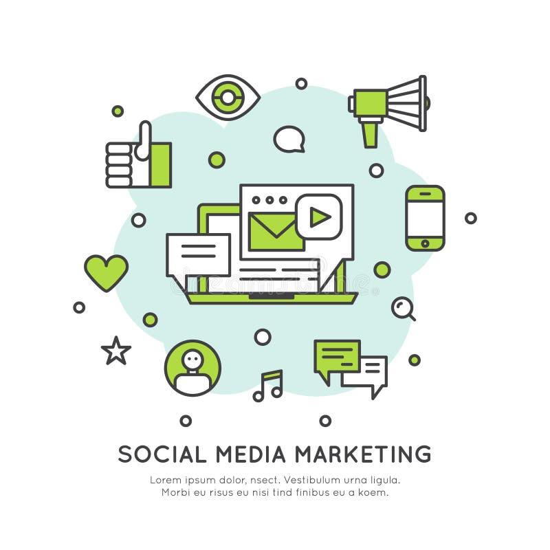 Социальные средства массовой информации сети выходя концепцию вышед на рынок на рынок иллюстрация штока