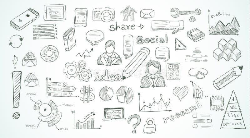 Социальные средства массовой информации doodles эскиз установленный с элементами infographics иллюстрация вектора