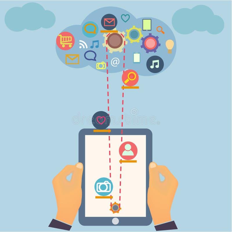Социальный дизайн компьютерной технологии средств массовой информации с multi иллюстрация вектора