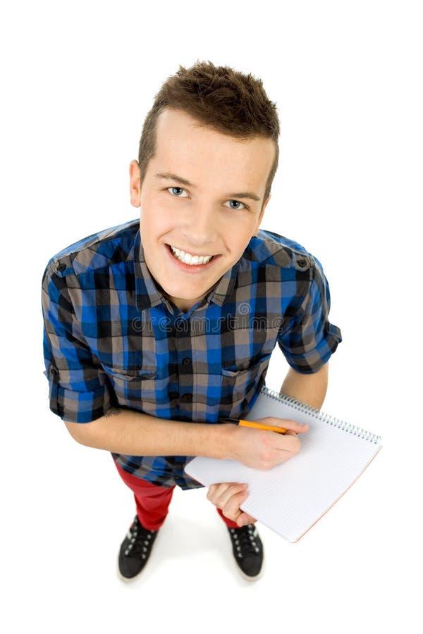 сочинительство взгляда студента угла высокое стоковые изображения rf