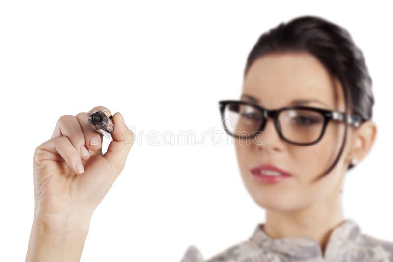сочинительство женщины стекел стоковая фотография rf