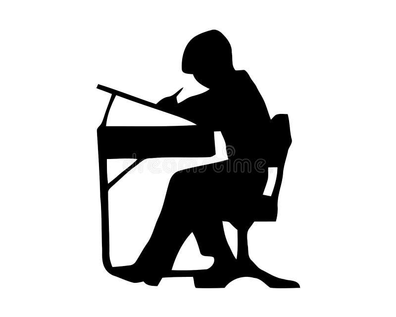 Сочинительство мальчика Черный вектор силуэта цвета на белой предпосылке иллюстрация вектора