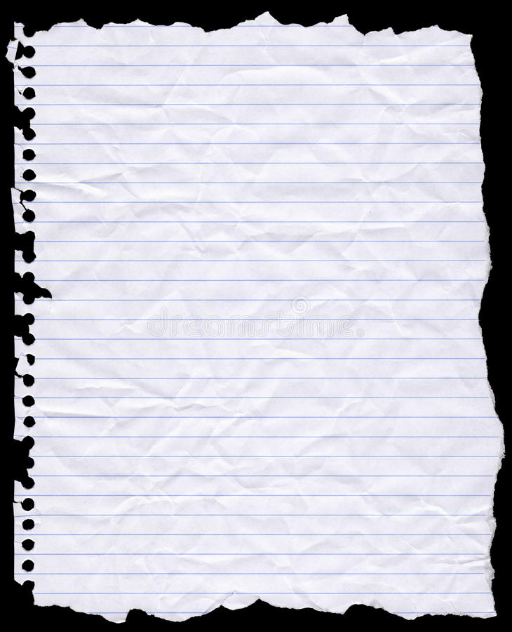 сочинительство отверстия пробитое бумагой сорванное стоковое изображение