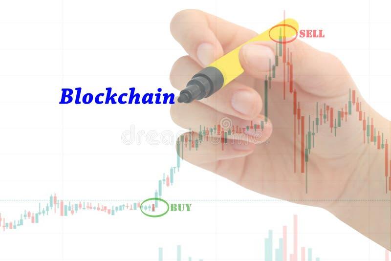 """Сочинительство """"Blockchain """"руки на диаграмме дела и индикаторе запаса финансовом стоковое фото"""