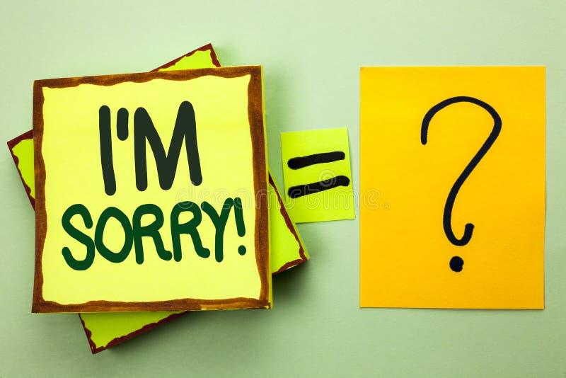 Сочинительство i m текста почерка огорченное Смысл концепции извиняется скорбное чувства совести опечаленное апологетическое Repe стоковое фото rf