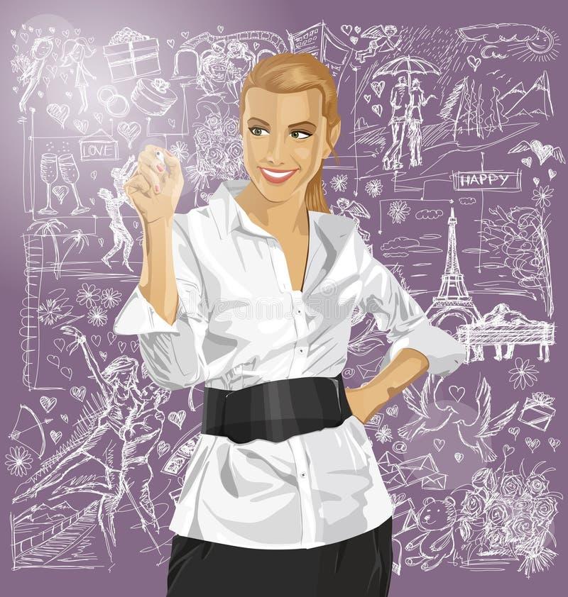 Сочинительство бизнес-леди что-то против предпосылки влюбленности бесплатная иллюстрация