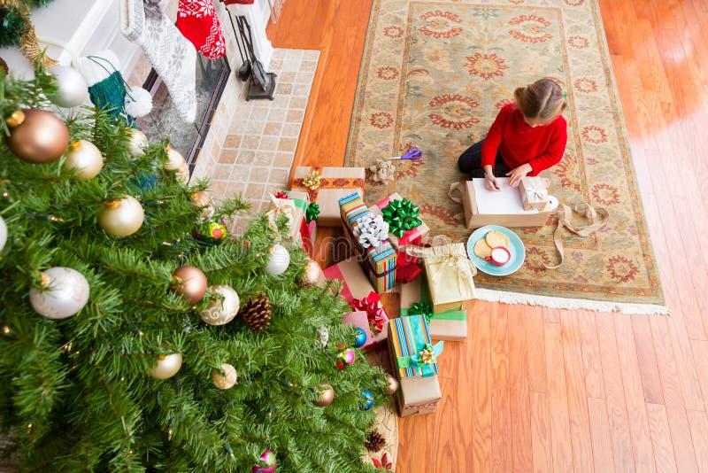 Сочинительство малой маленькой девочки сидя к Санта Клаусу стоковые фотографии rf
