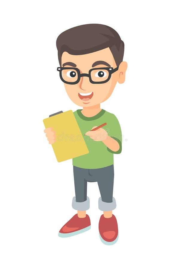 Сочинительство мальчика на бумаге прикрепленной к доске сзажимом для бумаги бесплатная иллюстрация