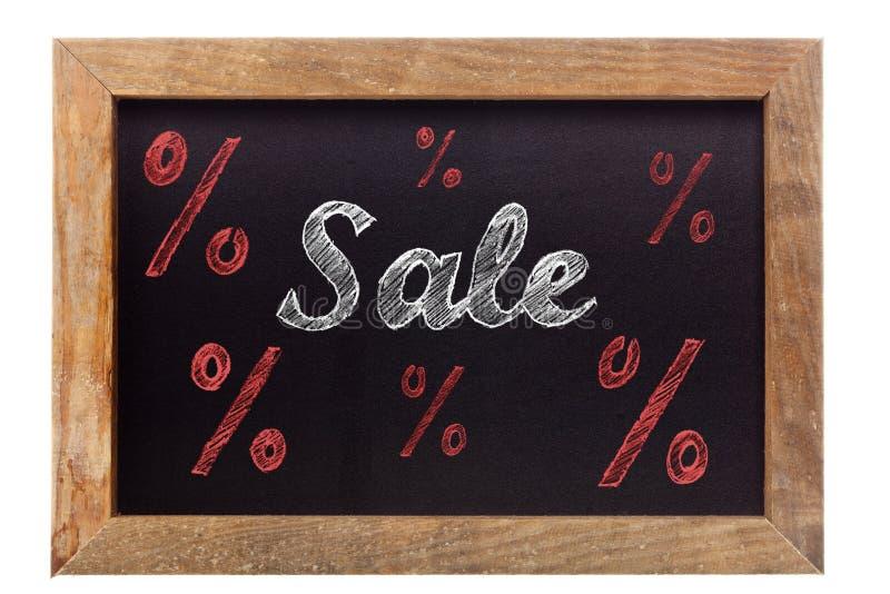 Сочинительство мела продажи с знаками процента на доске стоковое изображение