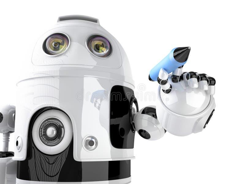 Сочинительство робота на незримом экране изолировано Содержит путь клиппирования бесплатная иллюстрация