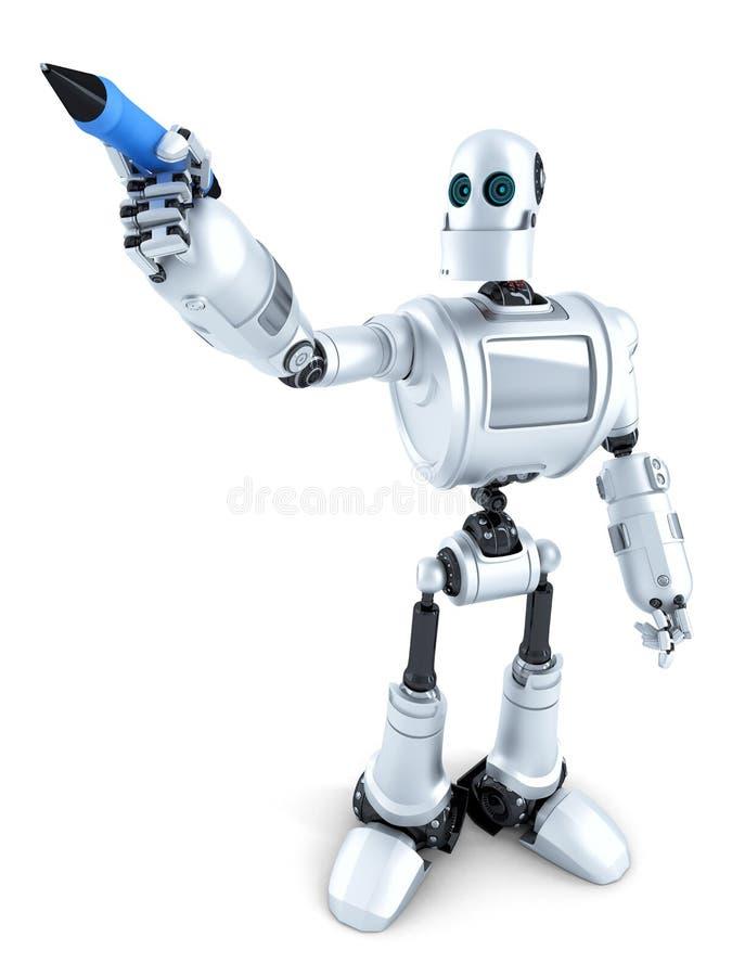 Сочинительство робота на незримом экране изолировано Содержит путь клиппирования иллюстрация штока