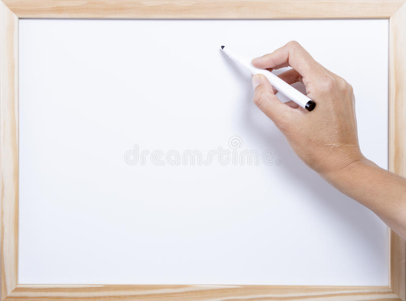 Сочинительство руки на whiteboard стоковое фото rf