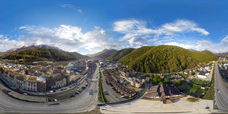 Сочи Панорама воздух 360 градусов стоковое фото rf