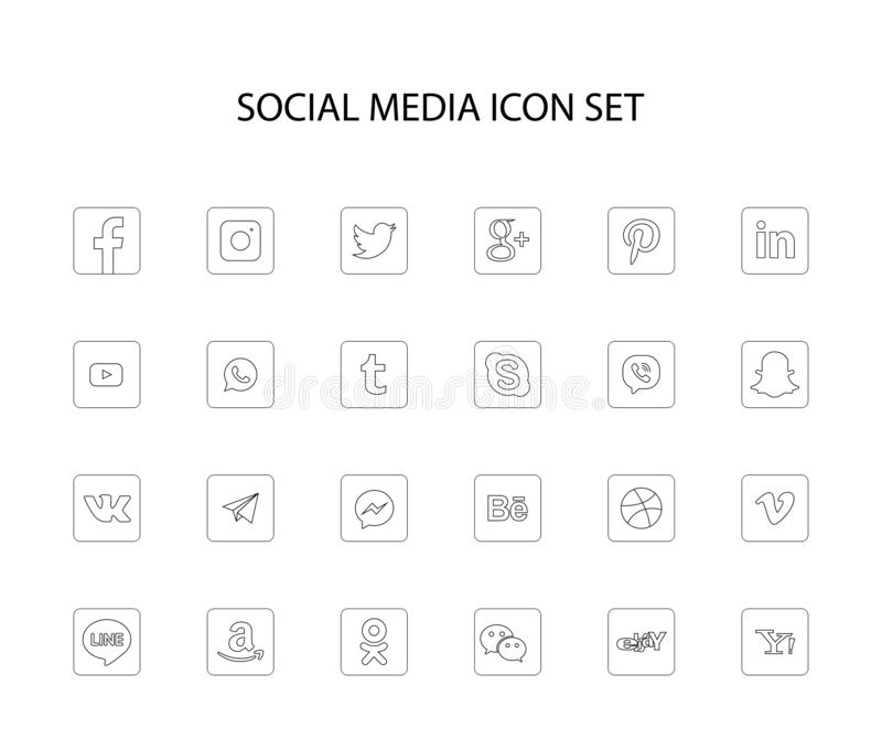 Сочи, Россия - 15-ое октября 2018: Собрание популярных социальных логотипов средств массовой информации иллюстрация вектора