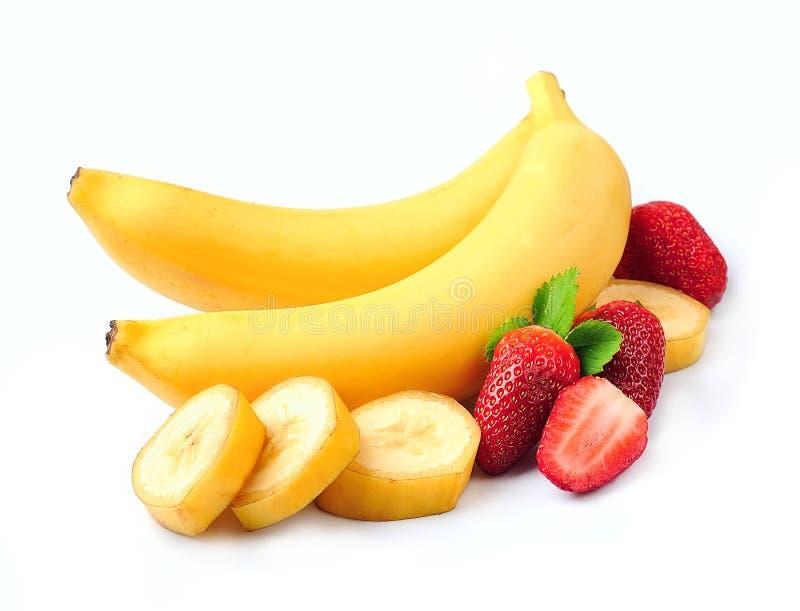 Сочная клубника с бананами стоковые фотографии rf