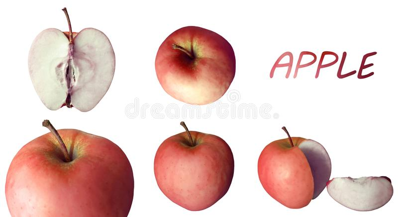 Сочные красные яблоки с заголовком стоковые изображения