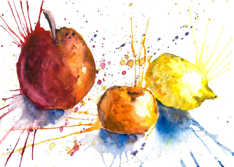 Сочные плодоовощи в брызге иллюстрация штока