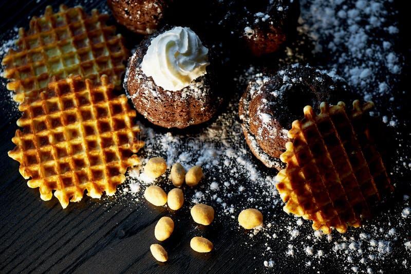 Сочные свежие булочки шоколада взбрызнутые с напудренным сахаром, положением против темной древесины Круглые бельгийские waffles  стоковые фото