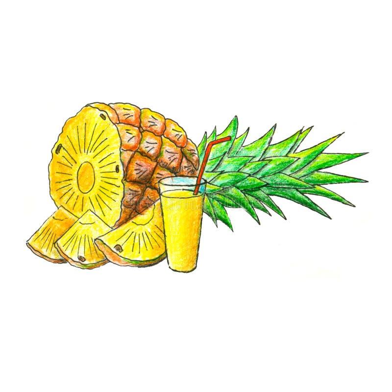 Сочный плодоовощ ананаса с стеклом сока иллюстрация штока