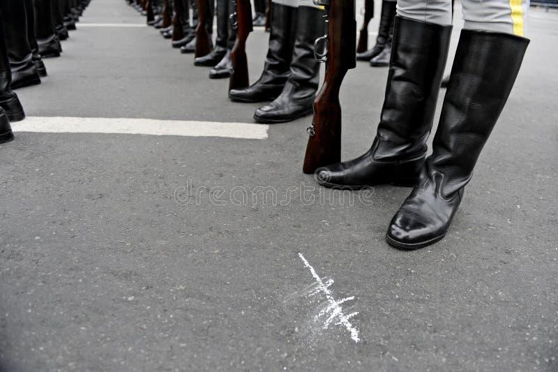 Солдаты в линии образовании стоковая фотография