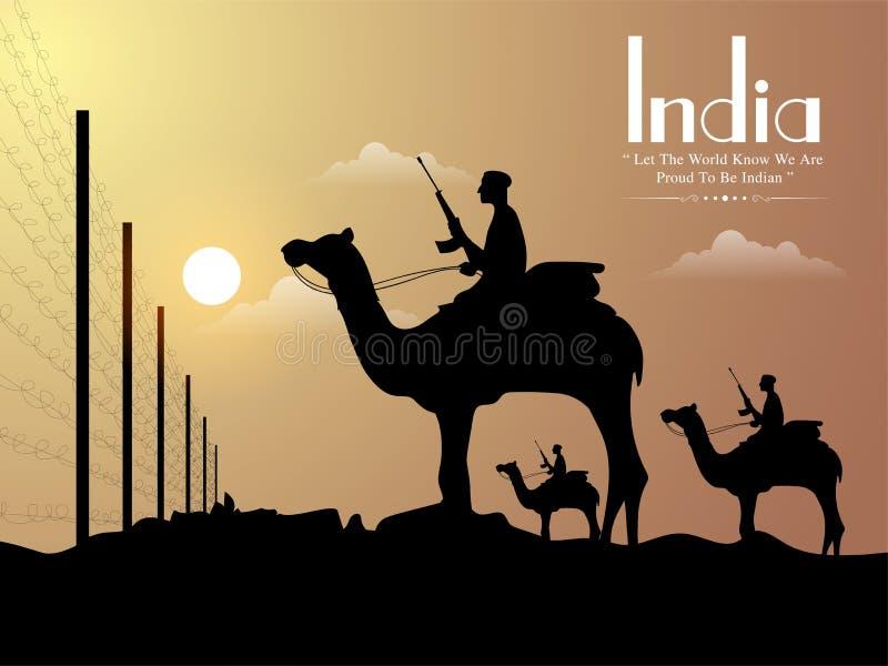 Солдаты на границе для индийского торжества дня республики иллюстрация вектора