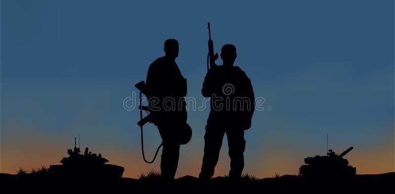 Солдаты на представлении боевого задания иллюстрация вектора