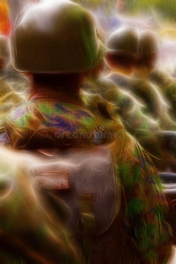 Солдаты с иллюстрацией рюкзаков стоковое фото