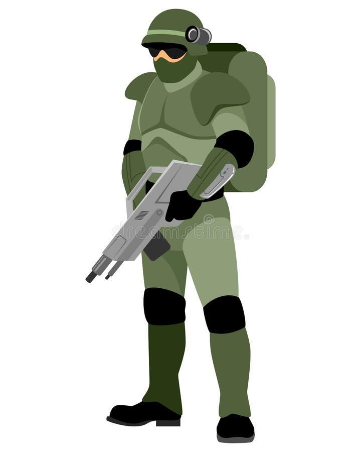 Солдат будущего иллюстрация вектора