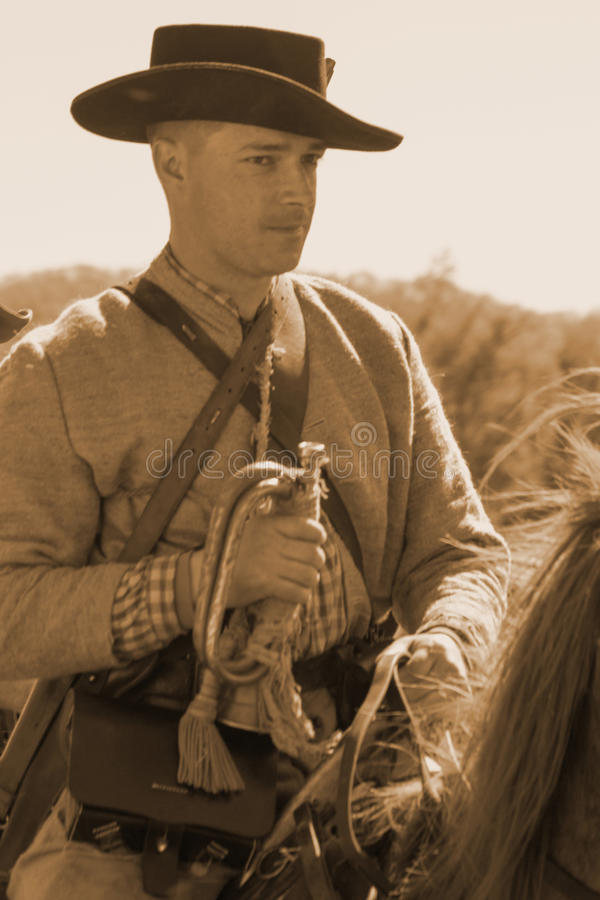 Солдат гражданской войны верхом с стеклярусом стоковое фото