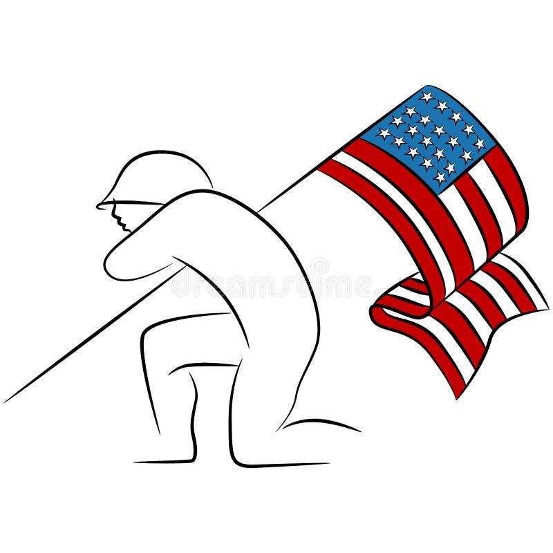 Солдат держа американский флаг иллюстрация вектора