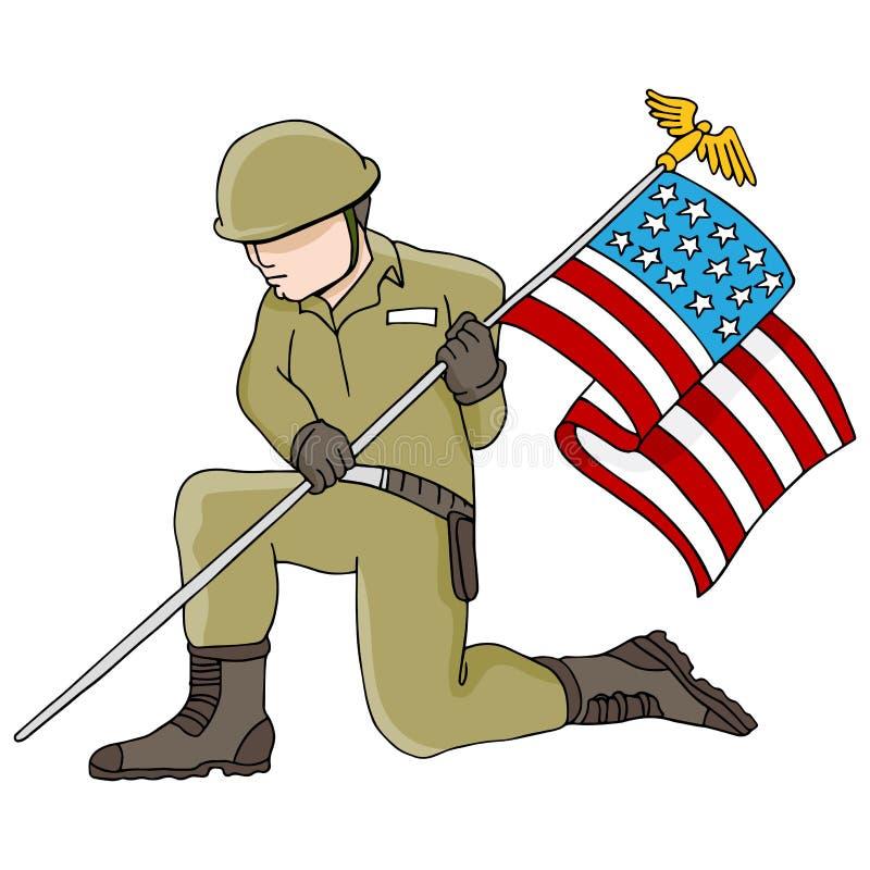 Солдат держа американский флаг иллюстрация штока