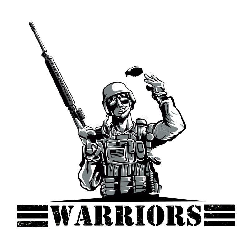 Солдат с винтовкой и гранатой бесплатная иллюстрация