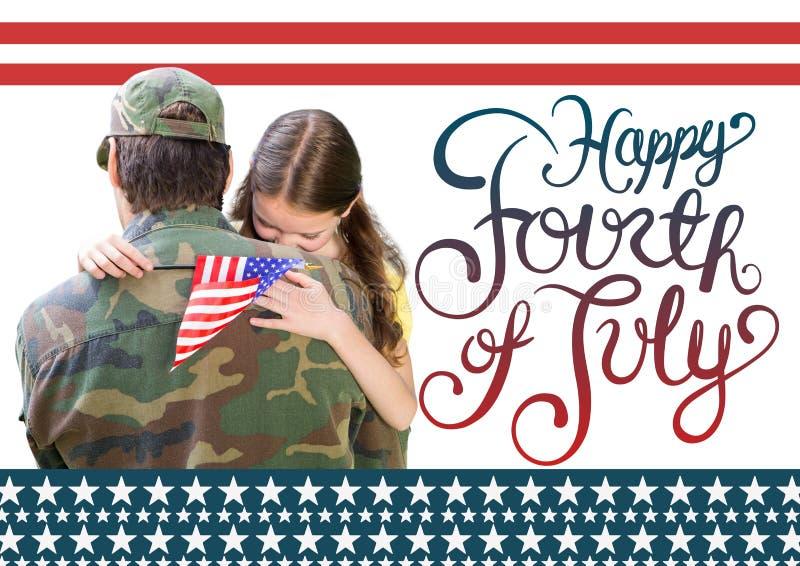 солдат с дочерью четвертый счастливый июль стоковое изображение