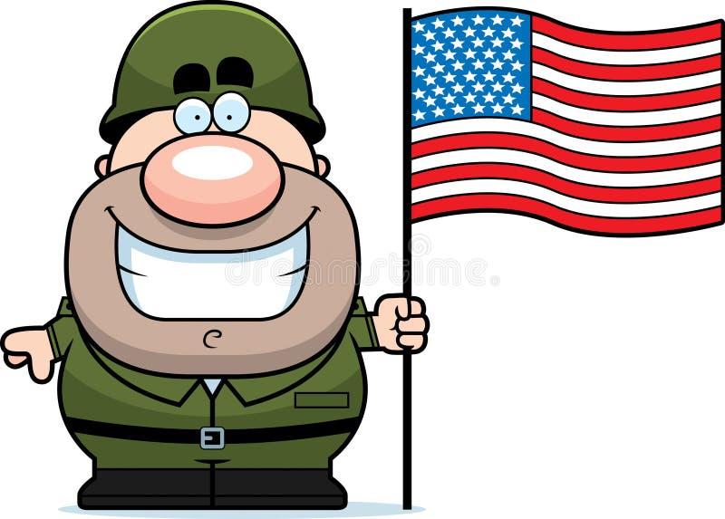 Солдат шаржа с флагом бесплатная иллюстрация