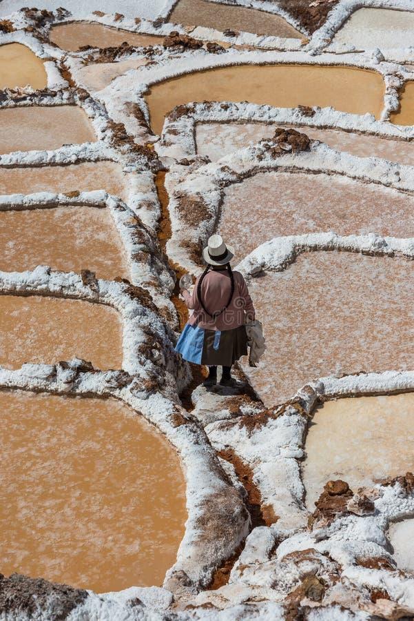 Солевые рудники перуанские Анды Cuzco Перу Maras стоковое изображение